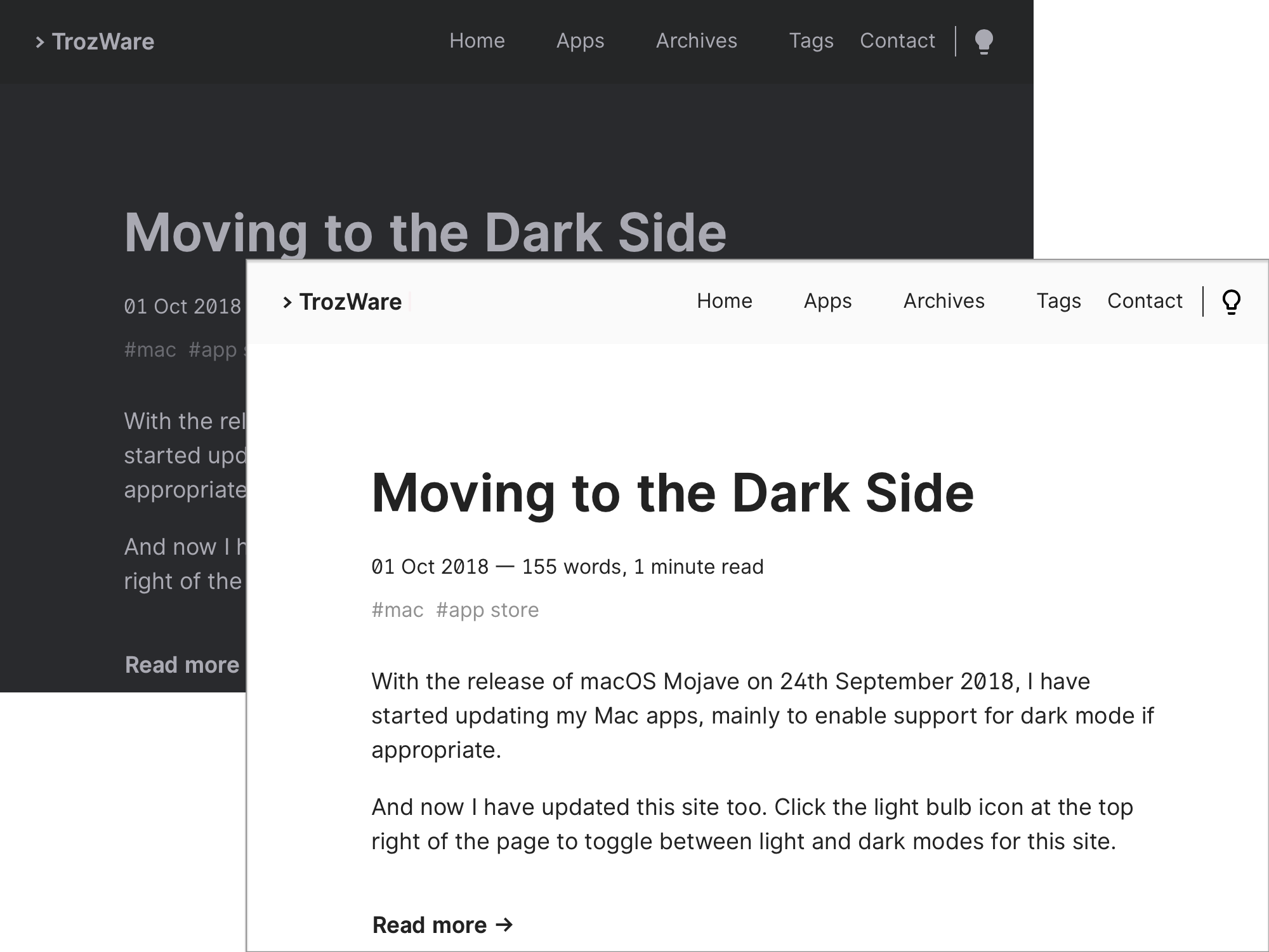 Dark and light versions of homepage
