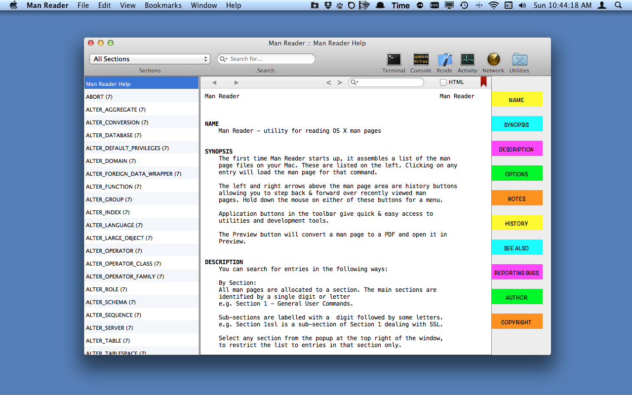 Mac Os X Manual Pages