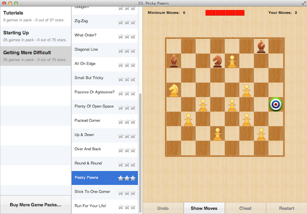 Pesky Pawns - one of the more difficult puzzles on Mac.