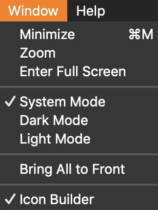Select mode in Window menu