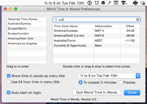 World Time In Words Preferences