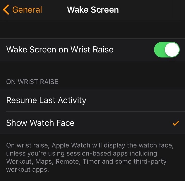 Wrist raise settings